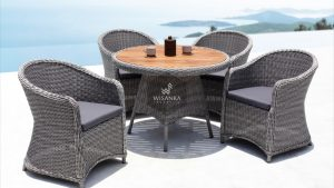 Synthetic Rattan Furniture Molde + Flora Dining Table