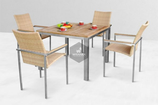 Collection Stainless Steel Anniston Dining Set